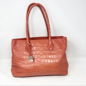 Furla crocodile embossed leather tote bag Italy